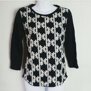 (J.Crew) Embroidered Navy 3/4 Sleeve Top